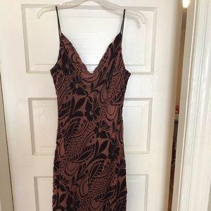 Brown burn out velvet dress